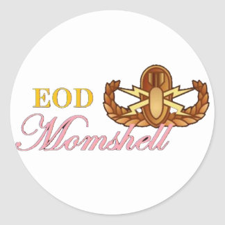black eod momshell classic round sticker
