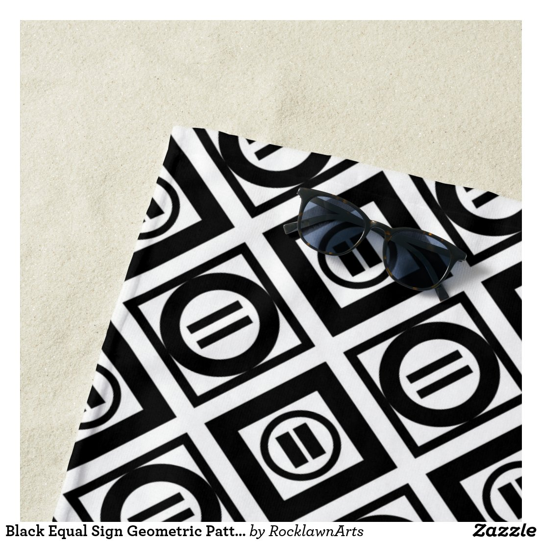 Black Equal Sign Geometric Pattern Beach Towel