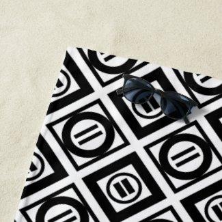 Black Equal Sign Geometric Pattern Beach Towel