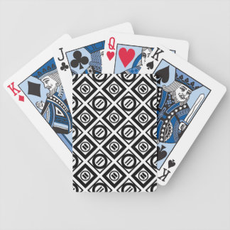 Black Equal Sign Geometric Pattern on White Bicycle Playing Cards