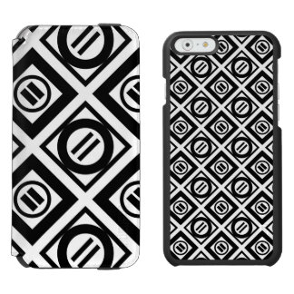 Black Equal Sign Geometric Pattern on White iPhone 6/6s Wallet Case