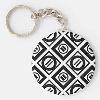 Black Equal Sign Geometric Pattern on White Keychain