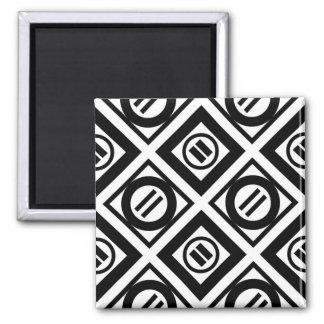 Black Equal Sign Geometric Pattern on White Magnet