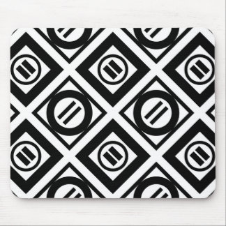 Black Equal Sign Geometric Pattern on White Mouse Pad