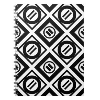 Black Equal Sign Geometric Pattern on White Note Book