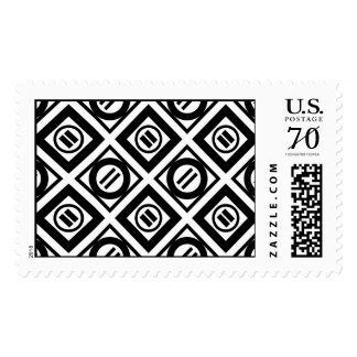 Black Equal Sign Geometric Pattern on White Postage