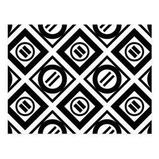Black Equal Sign Geometric Pattern on White Postcard