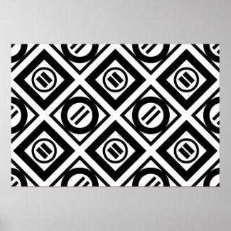 Black Equal Sign Geometric Pattern on White Poster