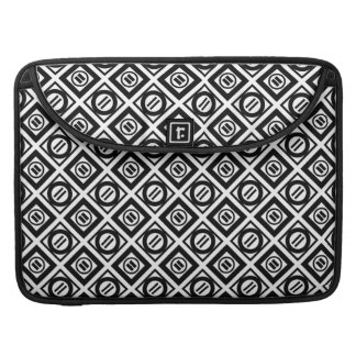 Black Equal Sign Geometric Pattern on White Sleeve For MacBook Pro