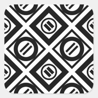 Black Equal Sign Geometric Pattern on White Square Sticker