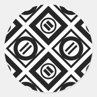 Black Equal Sign Geometric Pattern on White Classic Round Sticker