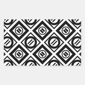 Black Equal Sign Geometric Pattern on White Rectangular Sticker