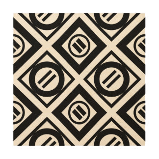 Black Equal Sign Geometric Pattern on White Wood Wall Decor