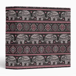Black Ethnic Elephant Pattern Binder