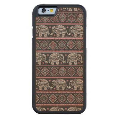 Black Ethnic Elephant Pattern Carved® Maple iPhone 6 Bumper