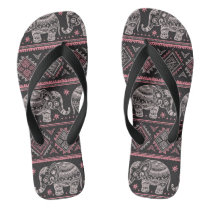 Black Ethnic Elephant Pattern Flip Flops