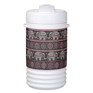 Black Ethnic Elephant Pattern Igloo Beverage Cooler