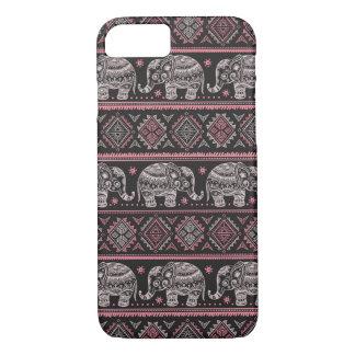 Black Ethnic Elephant Pattern iPhone 7 Case