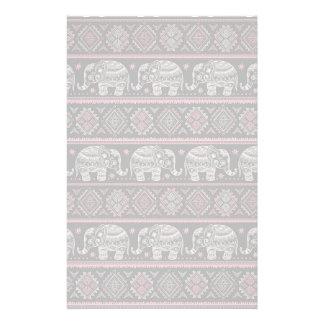 Black Ethnic Elephant Pattern Stationery