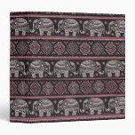 Black Ethnic Elephant Pattern Vinyl Binders