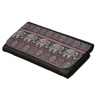 Black Ethnic Elephant Pattern Wallet
