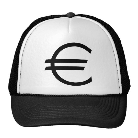 black euro sign trucker hat