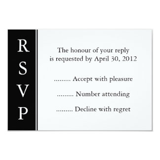 Black Event, Reply, Response or RSVP Card