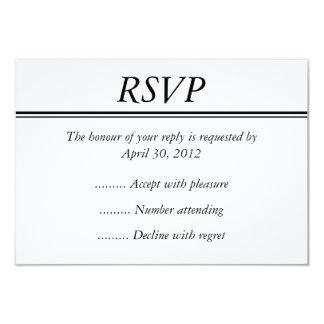 """Black Event, Reply, Response or RSVP Card 3.5"""" X 5"""" Invitation Card"""