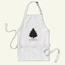 Black Evergreen Halloween Tree Personalized Adult Apron