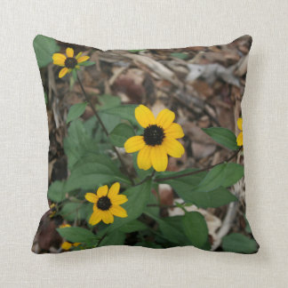 black eye susan flowers pretty field yellow flower throw pillow