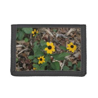black eye susan flowers pretty field yellow flower tri-fold wallet