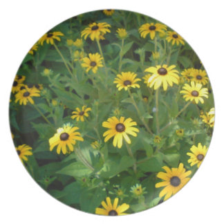 Black Eye Susan Melamine Plate