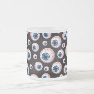 Black eyeball pattern frosted glass coffee mug