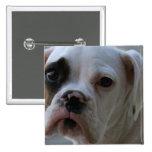 Black Eyed Boxer Dog Square Pin