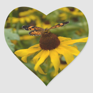 Black Eyed Susan and Butterfly Heart Sticker