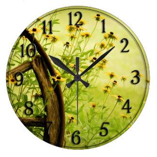 Black-Eyed Susan and Wagon Wheel Photo Clocks