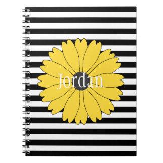 Black Eyed Susan Black Stripes Spiral Notebook