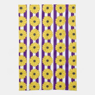 Black Eyed Susan Eggplant Purple Stripe Pattern Hand Towel