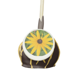 Black Eyed Susan Flower Cake Pops with Icing