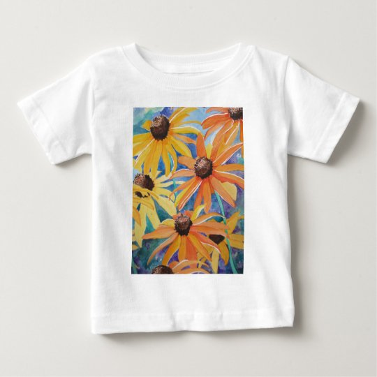Black Eyed Susan Flower Watercolor Painting Baby T-Shirt