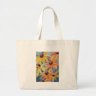 Black Eyed Susan Flower Watercolor Painting Jumbo Tote Bag