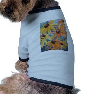 Black Eyed Susan Flower Watercolor Painting Pet Tee Shirt