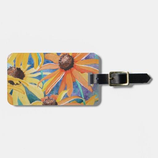 Black Eyed Susan Flower Watercolor Painting Bag Tag