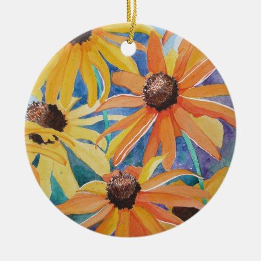 Black Eyed Susan Flower Watercolor Painting Christmas Ornaments