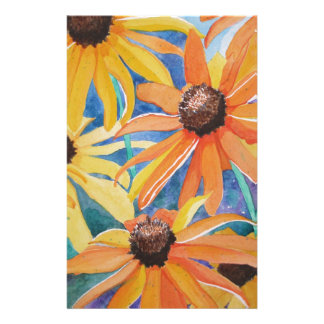 Black Eyed Susan Flower Watercolor Painting Stationery