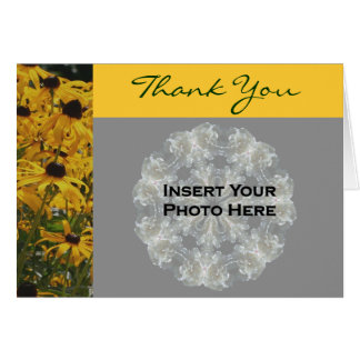 Black Eyed Susan Flower Wedding Photo Thank You Card