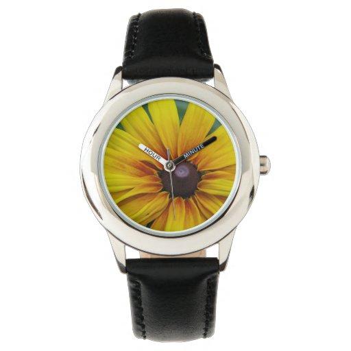 Black Eyed Susan Flower Wristwatches
