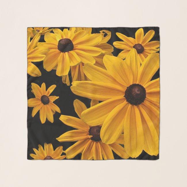 Black-Eyed Susan Flowers Floral Chiffon Scarf