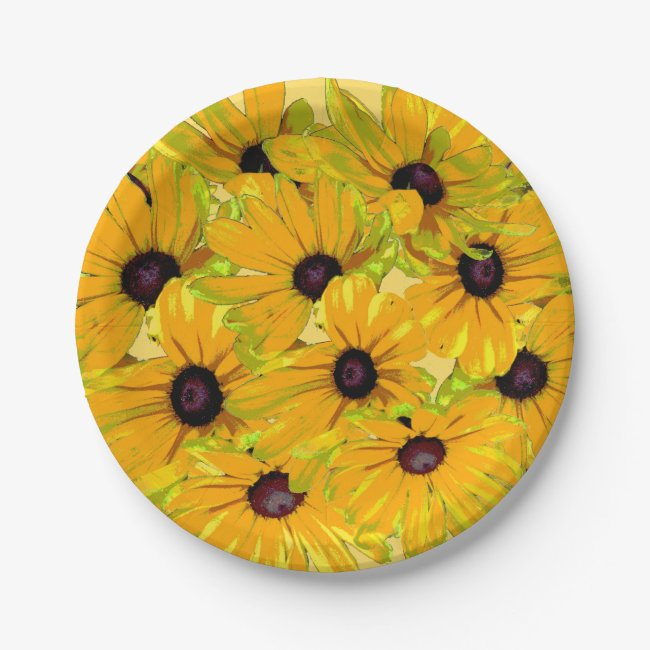 Black Eyed Susan Flowers Floral Paper Plates