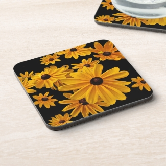 Black Eyed Susan Flowers Floral Plastic Coasters